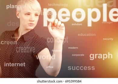 Girl touching human people button