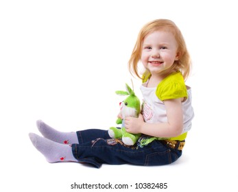 girl with toy  isolated on white