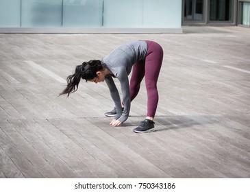 Girl training at gym