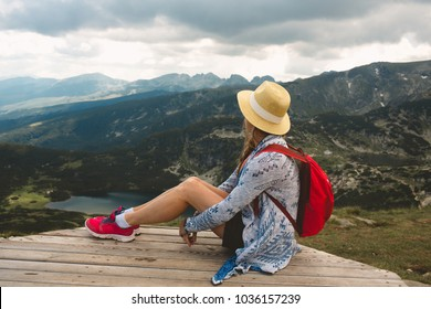 Girl traveling in Rila mountains Bulgaria