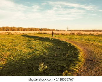 A girl with tripod at the center of an s-shaped path. Sunshine, freedom and a little flower. A winter landscape at nature reserve Oostvaardersplassen, The Netherlands.