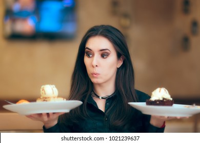 Girl Trying to Decide Between Vanilla and Chocolate Cake Dessert. Cute woman at the restaurant choosing what to eat between two plates