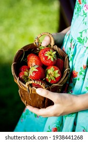 A girl in a turquoise dress holds a basket with ripe strawberries with her hands