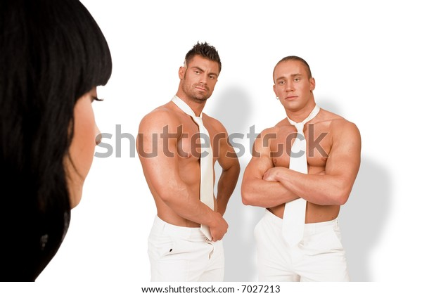 The girl and two athletic men on a white background