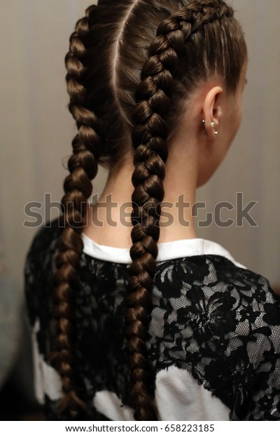 Girl Two Long Braids Hair Braided Stock Photo Edit Now