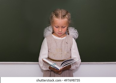 girl with two pigtails standing at the blackboard with a textbook in the hands of