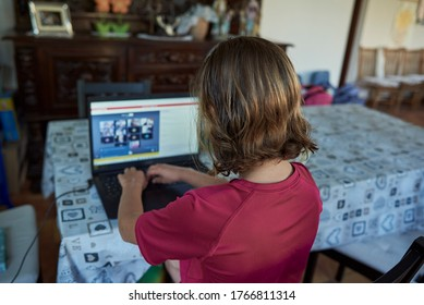 Girl typing on keyboard infront of the laptop, online meeting