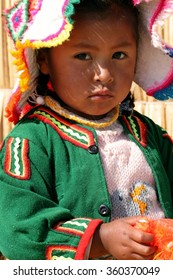 Girl at the Uros islands in Peru, July 29, 2010