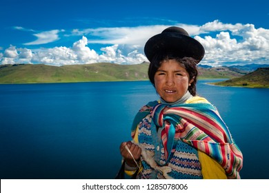 Girl of the Uros, in the Umayo lagoon. February 10, 2010 Puno Peru.