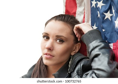 Girl with USA flag (portrait, isolated)
