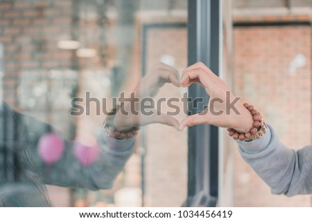 Girl Used Her Hand Make Heart Stock Photo Edit Now 1034456419
