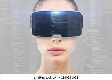 girl uses virtual reality technology to see futuristic or augmented reality images with vr mask. concept of future and immersive holographic technology