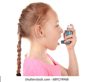 Girl using inhaler during asthmatic attack on white background