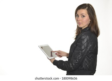 Girl using a tablet on white background