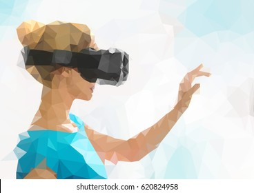 Girl using a virtual reality headset or goggles, low poly image.