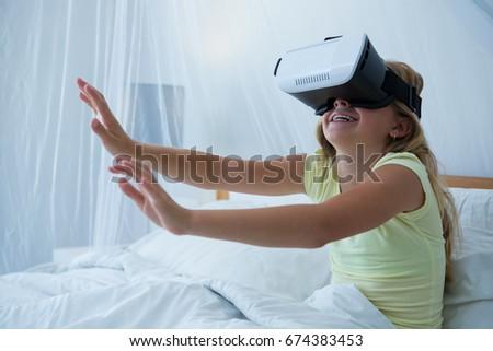 37fef338323 Girl Using Virtual Reality Simulator While Stock Photo (Edit Now ...