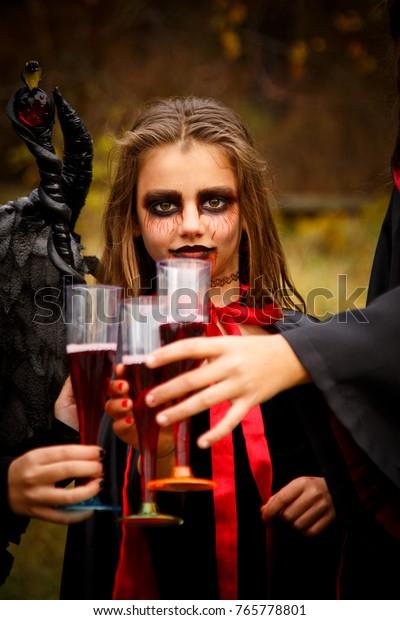 Girl Vampire Costume Halloween Terrible Vampire Stock Photo