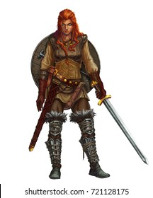 Girl viking fighter with sword and shield and red hair smiling