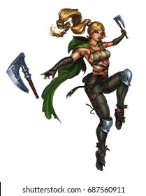 Girl viking killer with two axes in a jump on white background