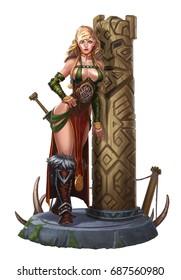 Girl viking yarl near a wooden obelisk on the stone floor