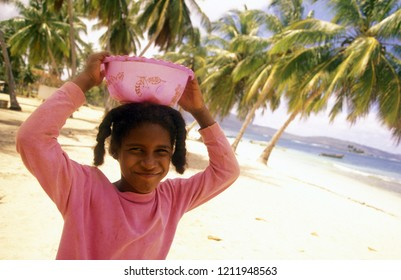 a girl in the Village of Las Terrenas on Samana at Dominican Republic in the Caribbean Sea of Latin America.   Dominican Republic, Samana, April, 2006