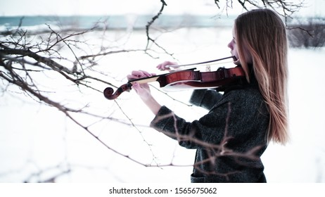 girl with a violin in the forest