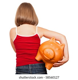 Girl walking away with fat piggy bank, full of money