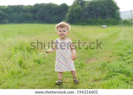 Girl Walking Headband Field Stock Photo (Edit Now) 196216601 ... d2d9aea8e58