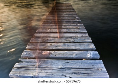 girl walking on the jetty