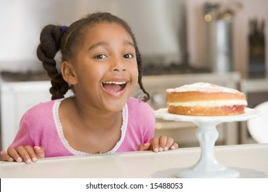 Girl wanting cake at home