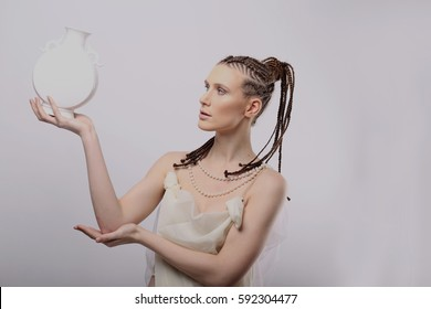 girl wants to drink from the bowl, in the style of Roman sculpture, strange hair color