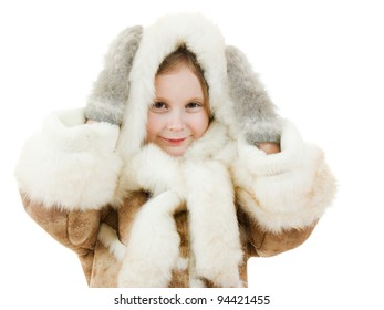 The girl in warm clothes smiling on white background.