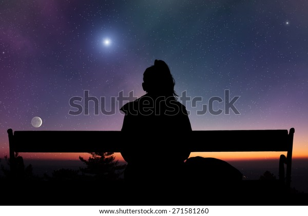 Girl watching the stars. Elements of this image are my astrophotography and daytime work.