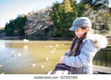 Girl watching a waterfowl in a pond