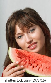 Girl with water melon