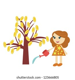 girl watering money tree on white background