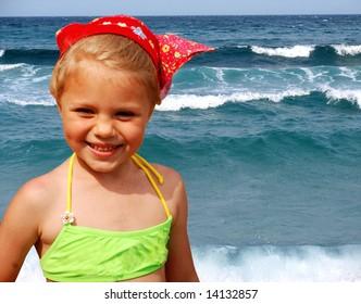 Girl and waves