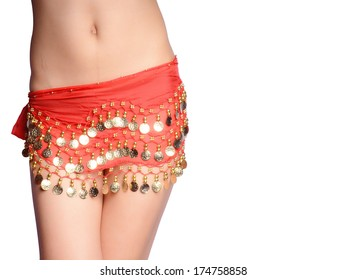 Girl wearing a beautiful belly dance costume ,nice fashion background