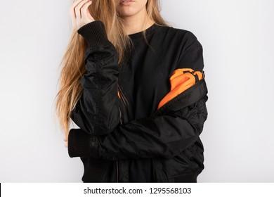 Girl wearing black jacket mockup template