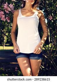 Girl wearing blank vest