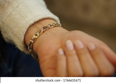 girl wearing a diamond bracelet