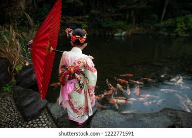 Girl wearing a kimono