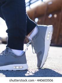 Girl Wearing Running Shoes in an Urban Environment