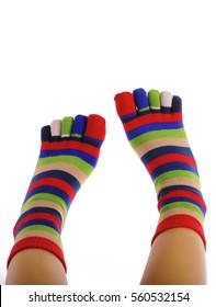 Girl wearing striped toe-socks
