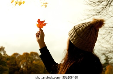 An girl wearing a woolly hat looks at a red leaf held in front of her and into the sun,  near River Tummel in Pitlochry, Scotland, under a yellow leafed tree and more trees on the background.