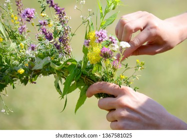 The girl weaves a wreath on her head with wildflowers and meadow grasses. Woman making hands a wreath in the garden with flowers and herbs. Spring, summer, flowers. Bloom. Ivana Kupala