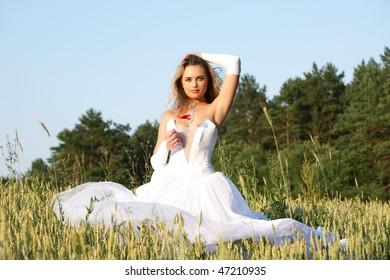 Girl in wedding dress.