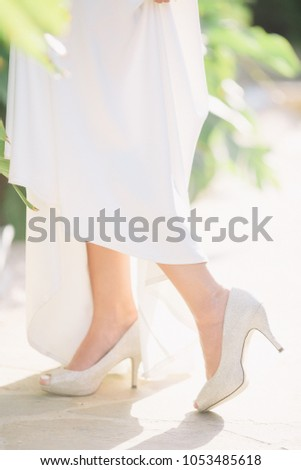cf4ff4ea9540 Girl Wedding Shoes Outdoors Park Stock Photo (Edit Now) 1053485618 ...