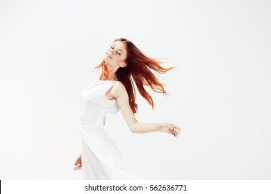 girl in a white dress on a white background