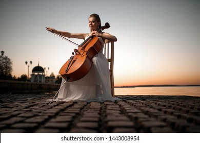 Girl in a white dress playing the cello on the shore of the lake, after sunset. There is a place for text, perfect for a cover or poster, advertising or signage.